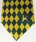 Green and yellow Cricket tie Trent Bridge Notts County Nottinghamshire CCC